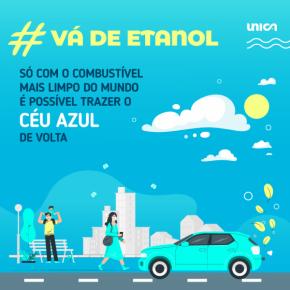 """Card #vádeetanol """"só com combustível mais limpo do mundo é possível trazer o céu azul de volta"""" azul UNICA"""