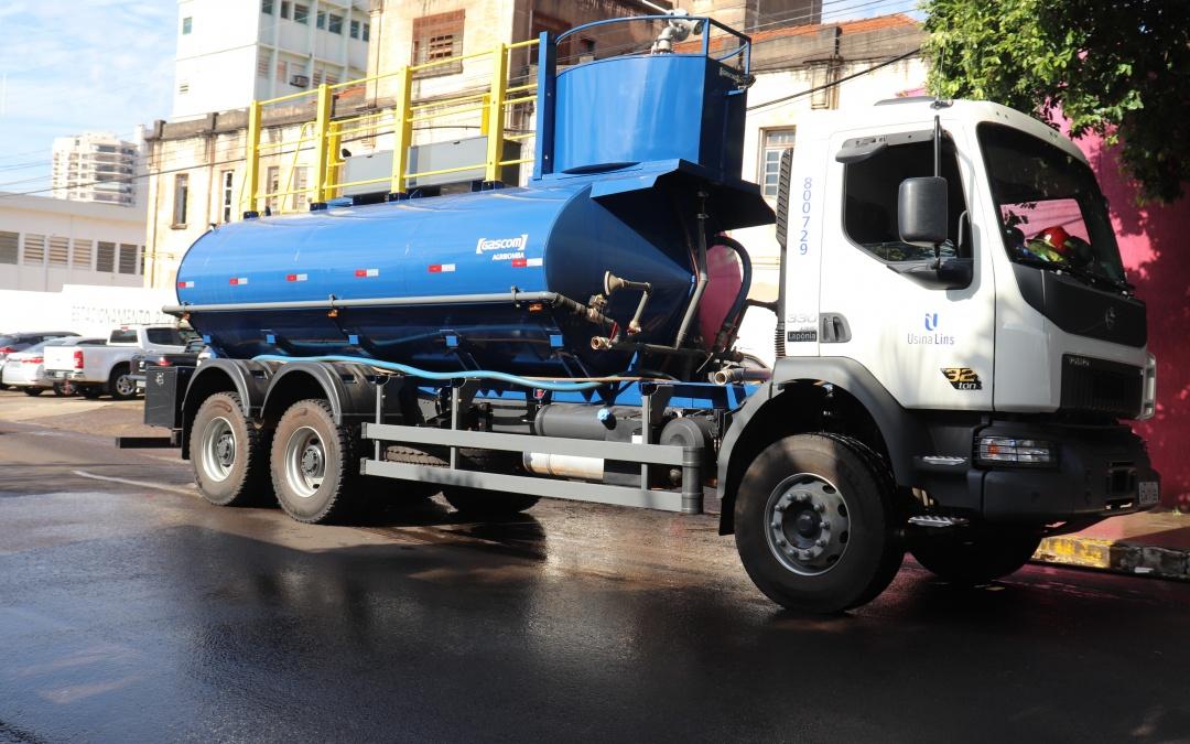 Usina Lins apoia Prefeitura Municipal de Lins na desinfeção de áreas de grande circulação