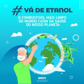 """Card #vádeetanol """"o combustível mais limpo do mundo cuida da saúde do nosso planeta"""" azul UNICA"""
